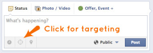 "Target your Facebook Post using the ""crosshairs"" icon"